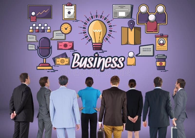 Ludzie biznesu grupują z biznesowymi ikon grafika ilustracji