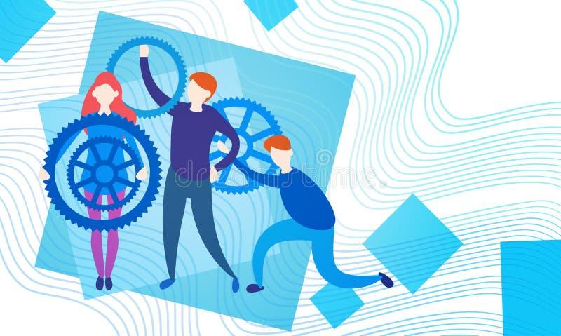 Ludzie Biznesu Grupują Z Cog koła drużyny Brainstorming procesem ilustracji