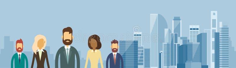 Ludzie Biznesu grupy drużyny Nad Dużego miasto widoku Horyzontalnym sztandarem royalty ilustracja