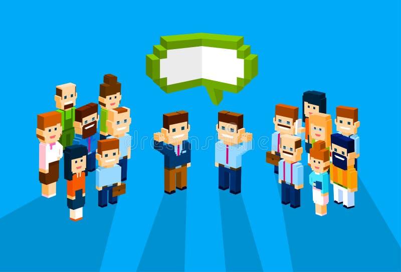 Ludzie Biznesu grupy gadki bąbla Komunikacyjnego pojęcia, biznesmeni Opowiada Dyskutujący 3d Isometric royalty ilustracja