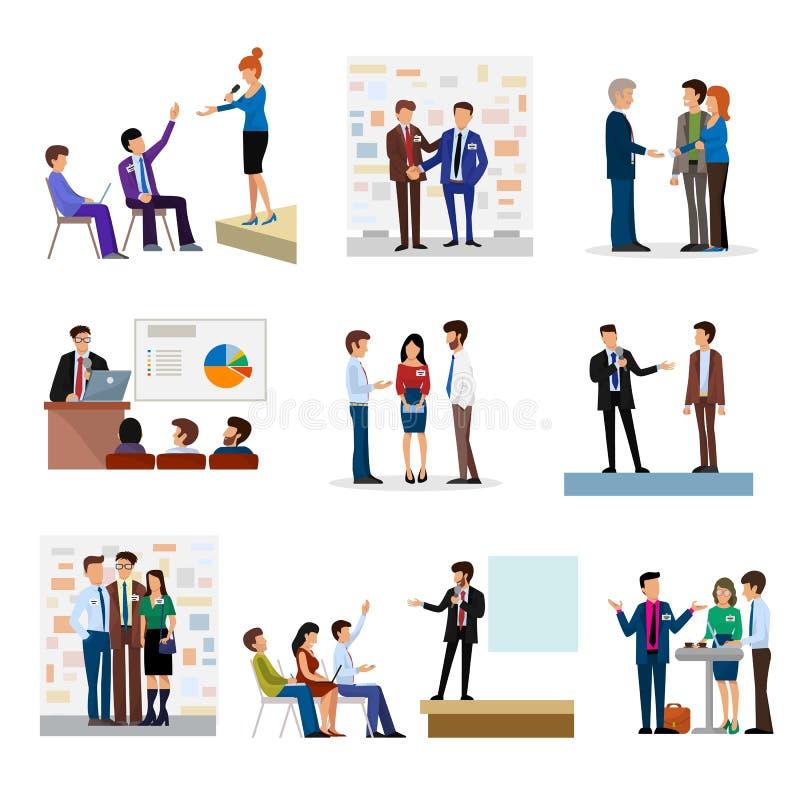 Ludzie biznesu grupy prezentaci inwestora conferense pracy zespołowej spotkania charaktery przeprowadzają wywiad wektorową ilustr ilustracji