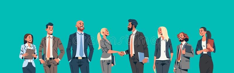 Ludzie biznesu grupy ręki potrząśnięcia zgody komunikuje pojęcie biznesmenów kobiet lidera zespołu spotkania samiec kobiety ilustracja wektor