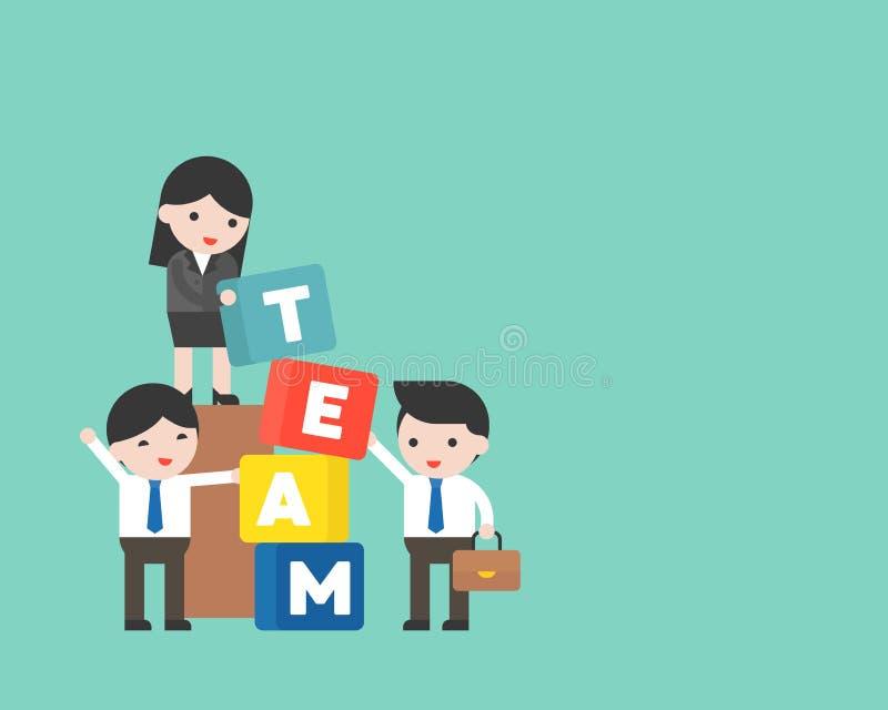 Ludzie biznesu i kierownik z drużyna blokiem, drużynowego budynku conce ilustracji