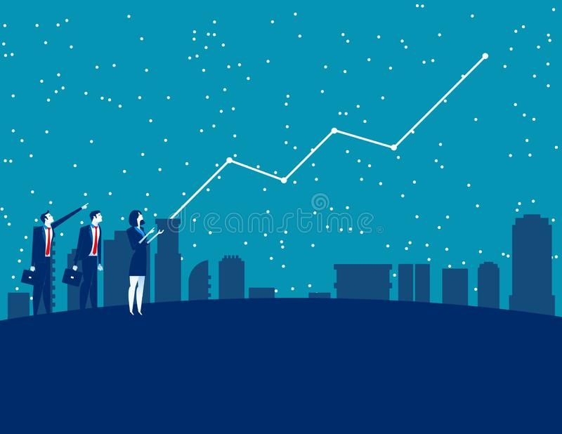 Ludzie biznesu i prognozowanie przyszłościowi zyski Poj?cie biznesowa wektorowa ilustracja Prognostyk, finanse i gospodarka, ilustracji
