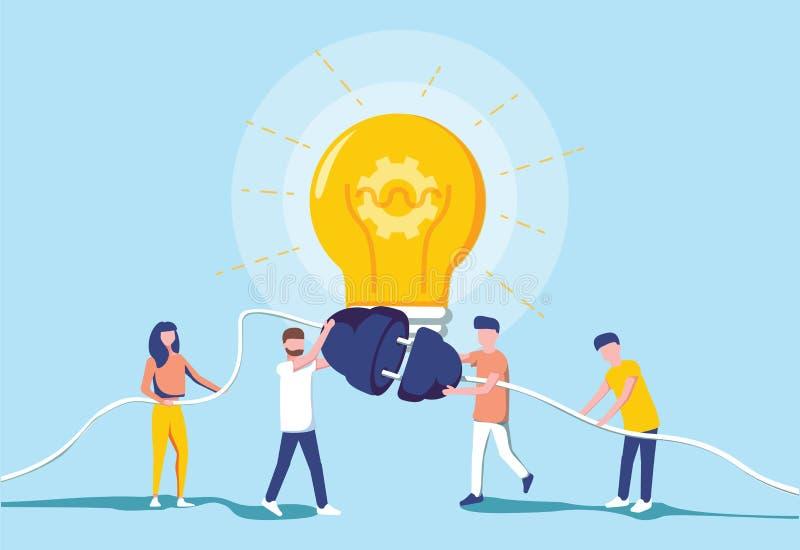 Ludzie biznesu i wywołujący zasilanie elektryczne dla wielkiej żarówki Pomysłu pokolenie Brainstorm i pracy zespołowej współpraca ilustracji