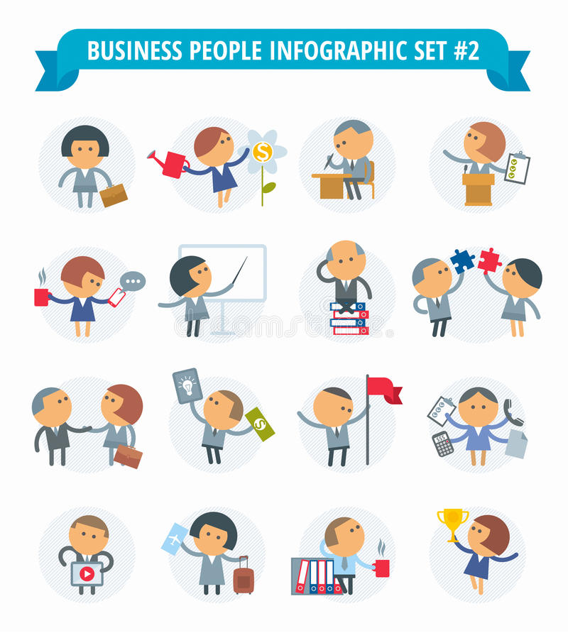 Ludzie Biznesu Infographic Ustalony -2 ilustracja wektor