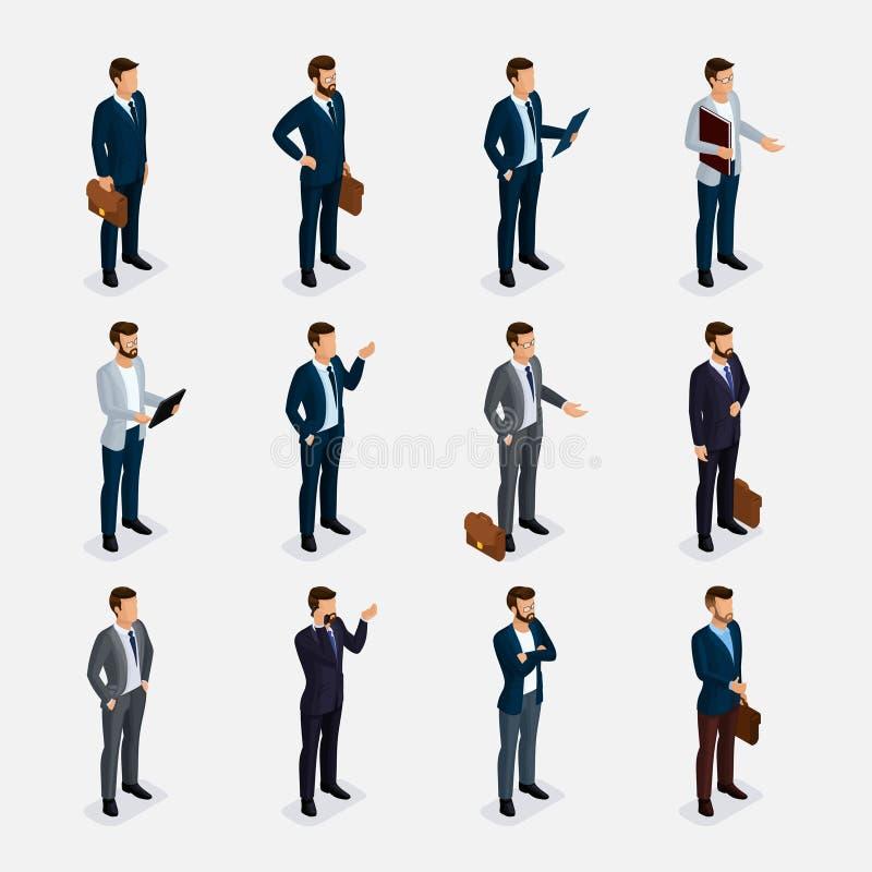 Ludzie biznesu isometric setu z mężczyzna w kostiumach, broda projektuje eleganckiego fryzura wąsy biuro odizolowywającego ilustracji