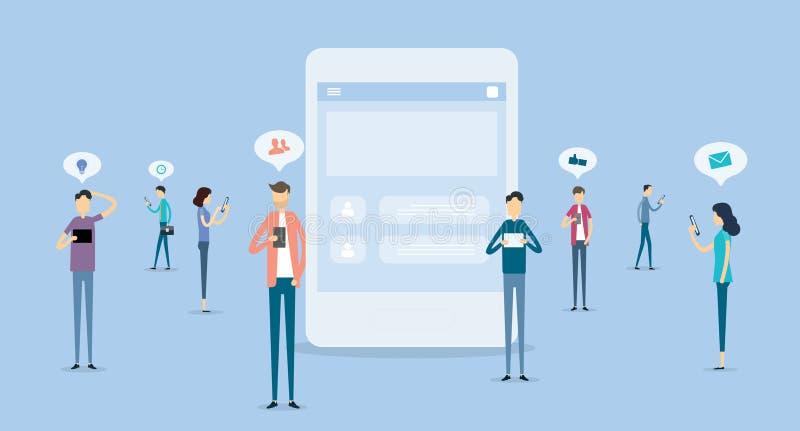 Ludzie biznesu komunikacyjni na ogólnospołecznym sieci pojęciu royalty ilustracja