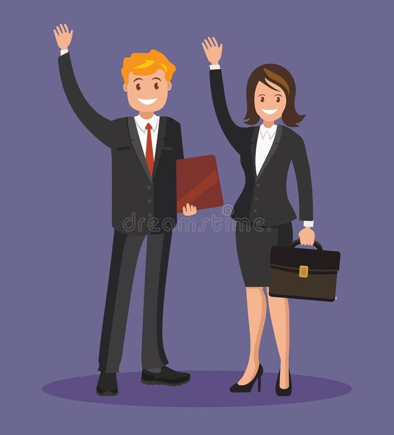 Ludzie biznesu, mężczyzna i kobieta w kostiumach macha ich ręki, Biznes drużyna pracownicy royalty ilustracja
