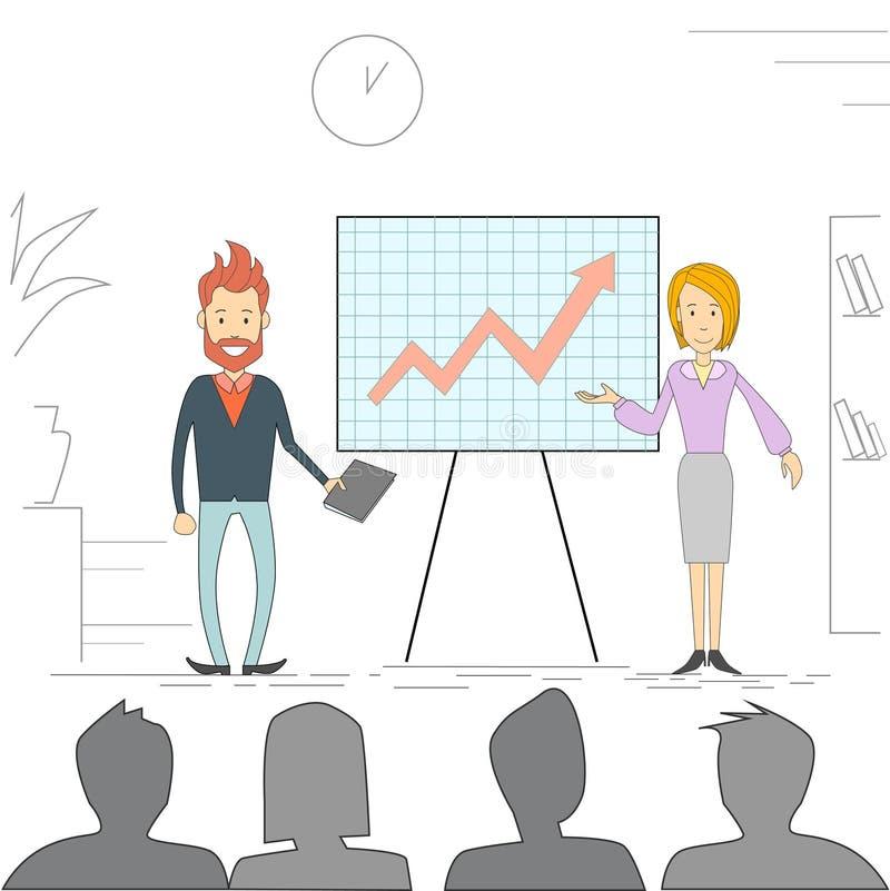 Ludzie Biznesu mężczyzna kobiety spotkania Seminaryjnych Stażowych Konferencyjnych biznesmenów Brainstorming Grupowej prezentaci  royalty ilustracja