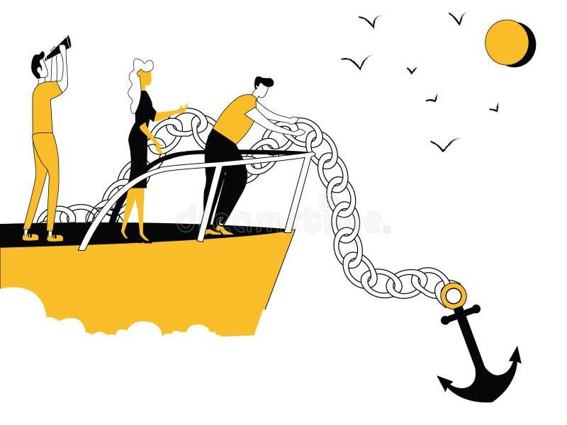 Ludzie Biznesu na łodzi z kotwicą ilustracji