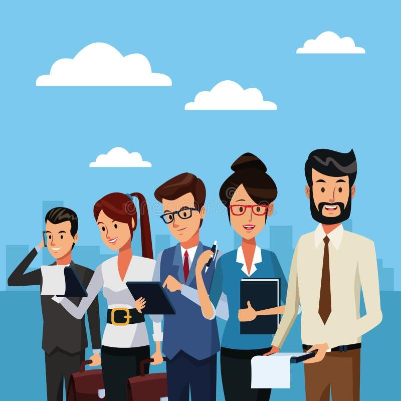 Ludzie biznesu na zewnątrz kreskówki ilustracja wektor