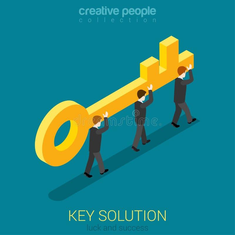 Ludzie biznesu niosą złotego klucz 3d konceptualny pojęcie wizerunek odpłaca się rozwiązanie ilustracji