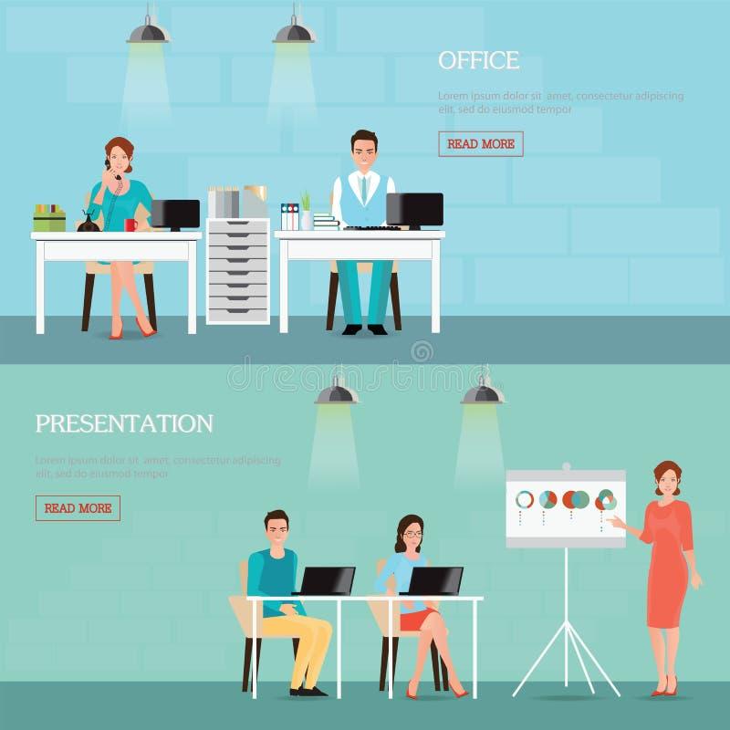 Ludzie biznesu opowiada telefon i działanie przy komputerami ilustracji