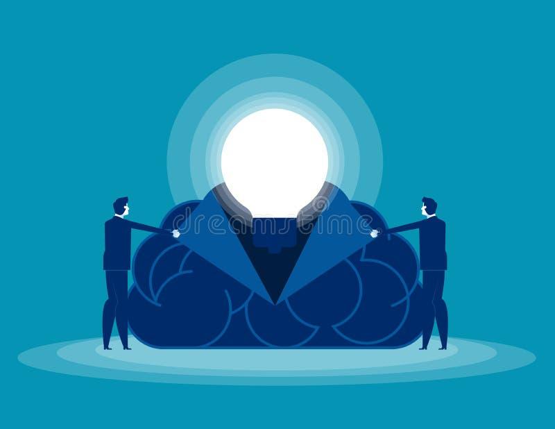 Ludzie biznesu otwierają twój umysł Pojęcie biznesowa wektorowa ilustracja, mózg, pomysły ilustracji