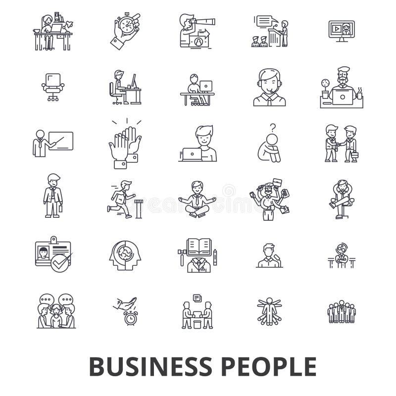 Ludzie biznesu, planowanie, działanie, praca zespołowa, działy zasobów ludzkich, zarządzanie kreskowe ikony Editable uderzenia Pł ilustracja wektor