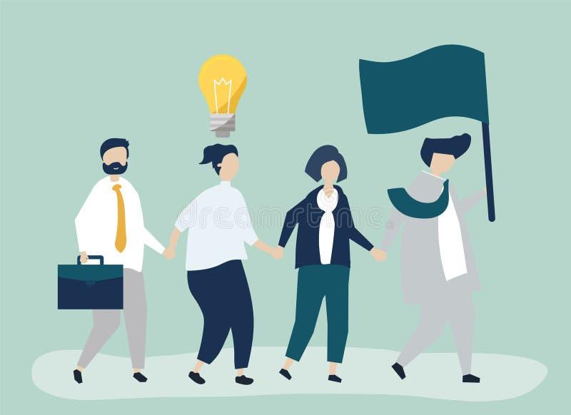 Ludzie biznesu podąża lidera znajdować nowego rynek ilustracji