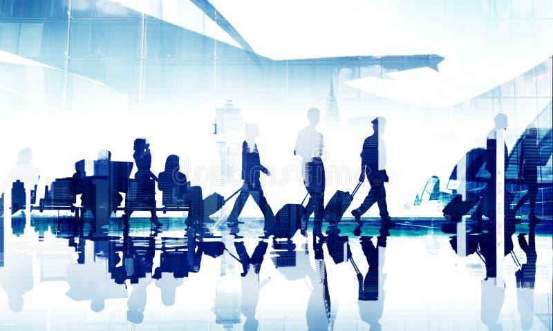 Ludzie Biznesu Podróżują Korporacyjnego Aiport Pasażerskiego Terminal Conce obrazy royalty free