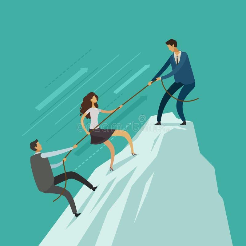 Ludzie biznesu pomagają each inny wierzchołek góra Pracy zespołowej pojęcie Wspinaczkowy w górę, infographics wektor ilustracja wektor