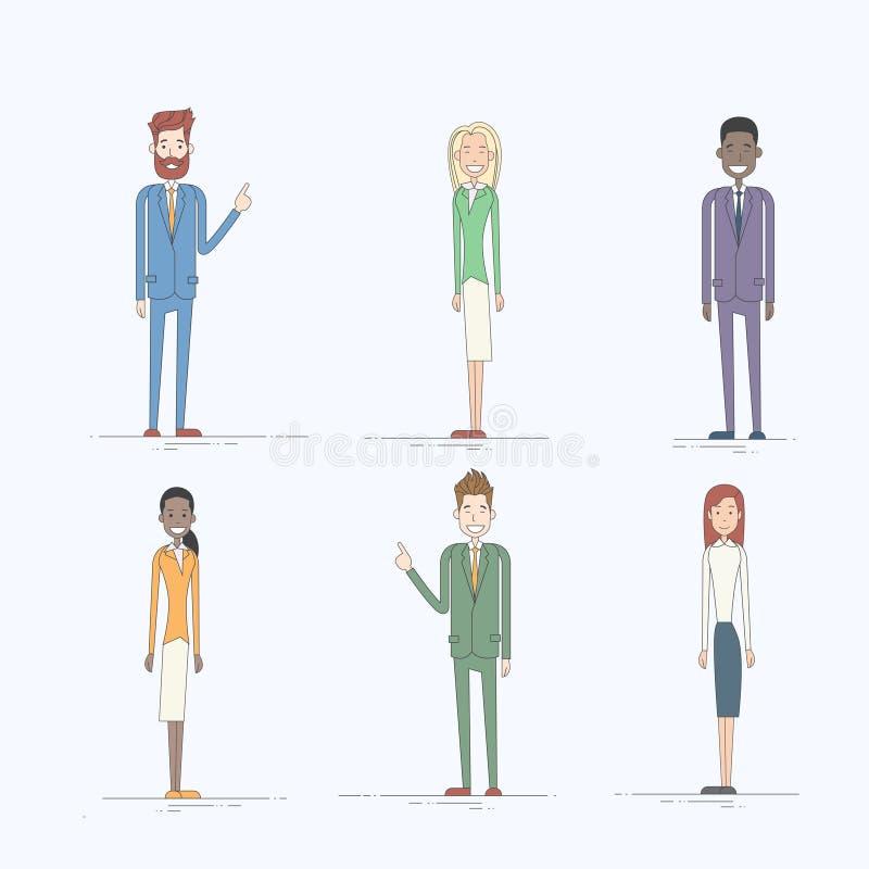 Ludzie Biznesu postać z kreskówki - ustalona Pełna długość ilustracja wektor