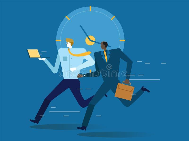 Ludzie biznesu pracuje i biega na czasu tle royalty ilustracja