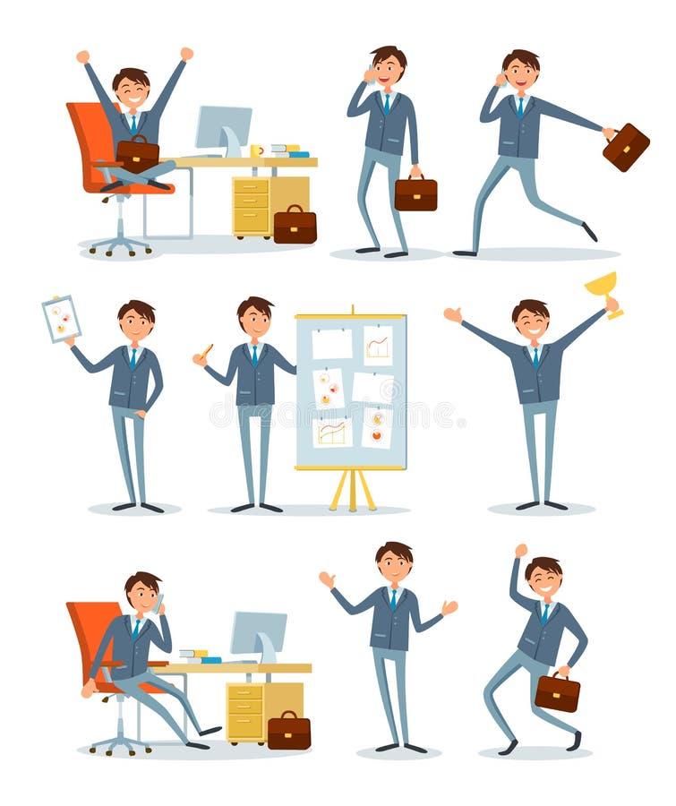 Ludzie Biznesu Pracuje w biurze z informacją royalty ilustracja