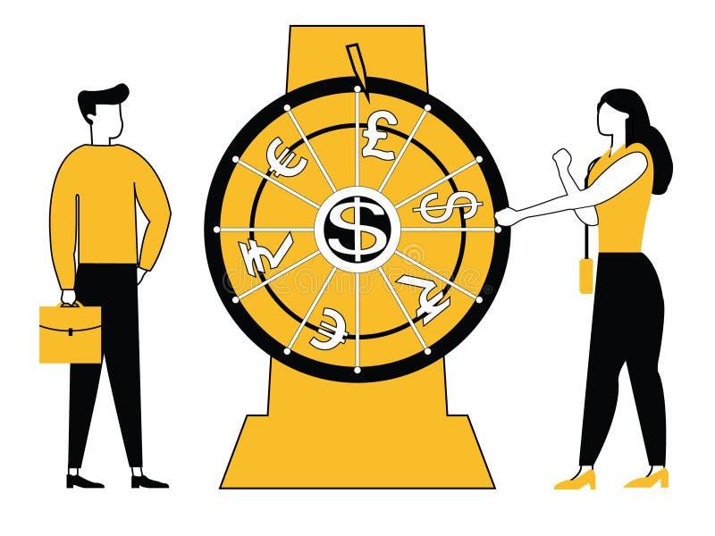 Ludzie biznesu przędzalnianego koła ilustracja wektor