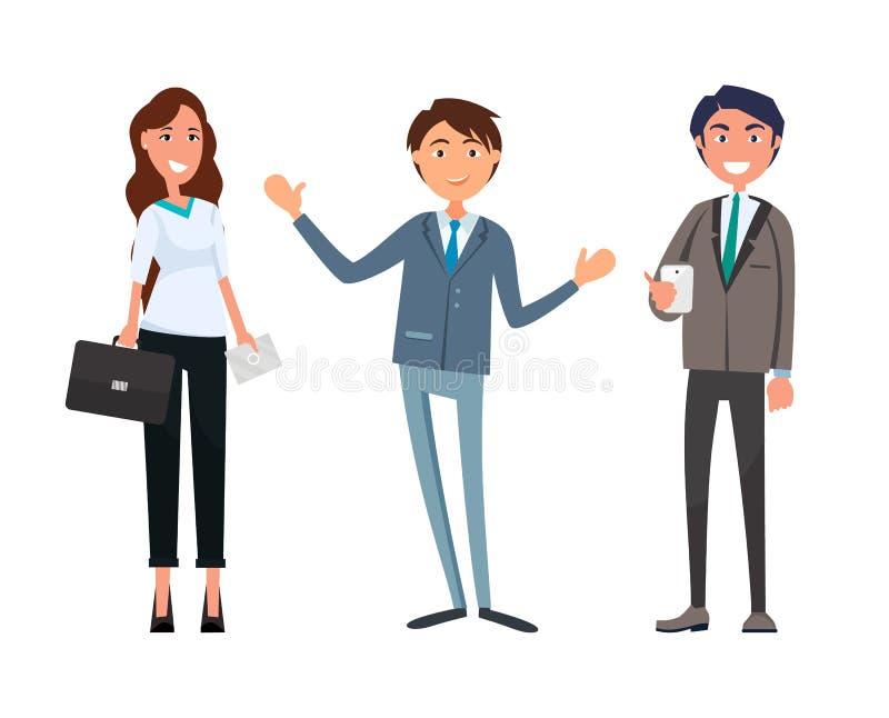 Ludzie Biznesu przy partnerami Spotyka współpracę royalty ilustracja