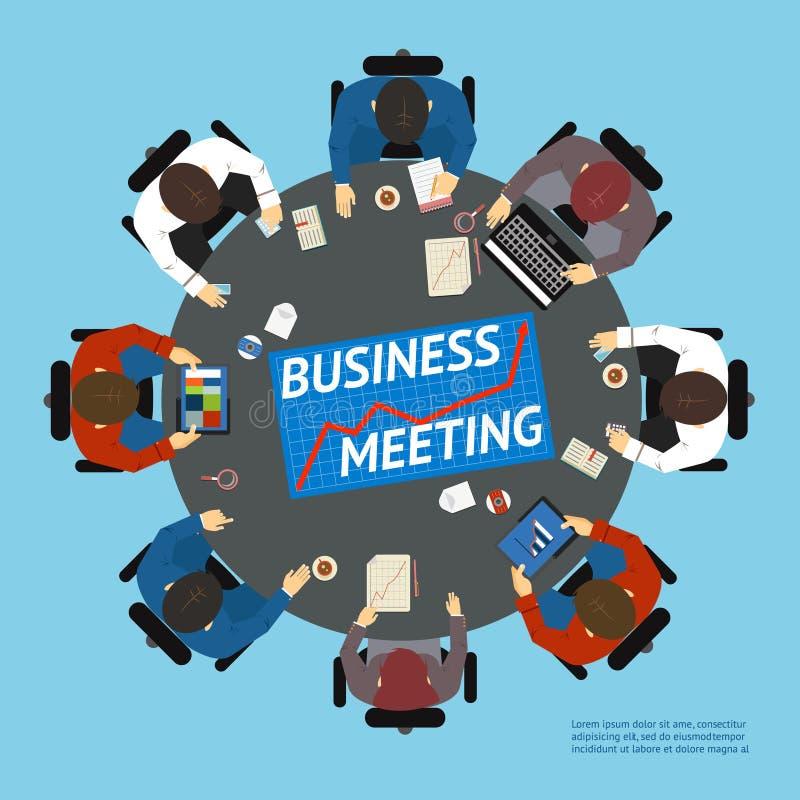 Ludzie biznesu przy stołem negocjacyjnym royalty ilustracja
