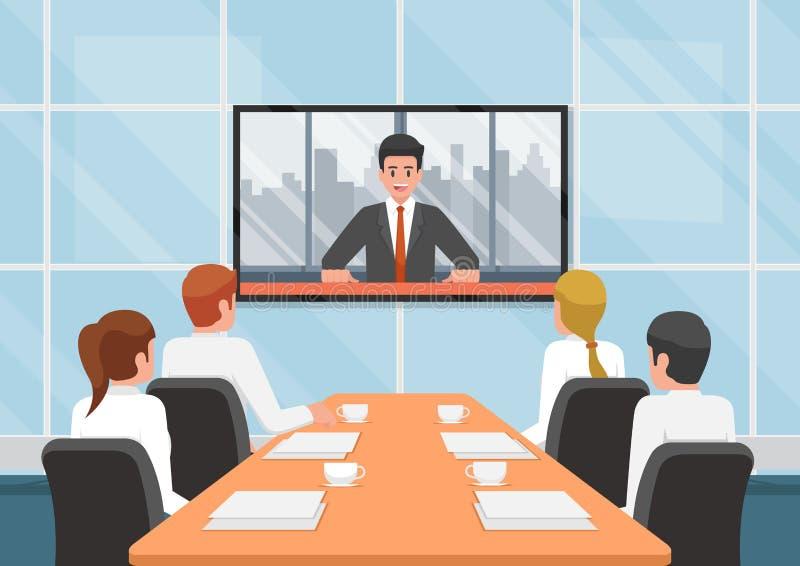 Ludzie biznesu przy wideokonferencja wezwaniem z drużyną ilustracji