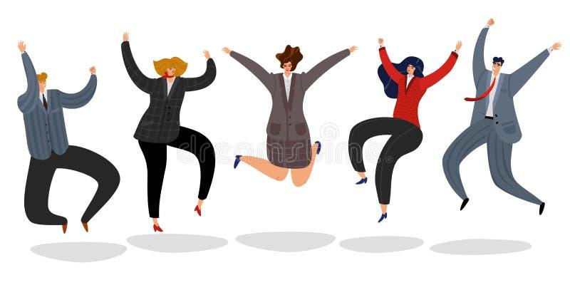 Ludzie biznesu skakać Z podnieceniem szczęśliwi pracownicy skaczą kreskówka motywującego drużynowego urzędnik odświętności sukces ilustracja wektor