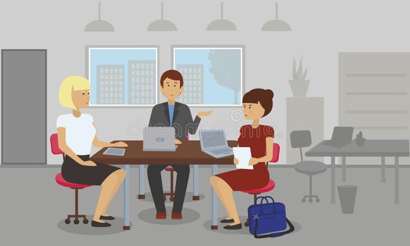 Ludzie biznesu spotyka dyskutujący pomysły i pojęcia royalty ilustracja