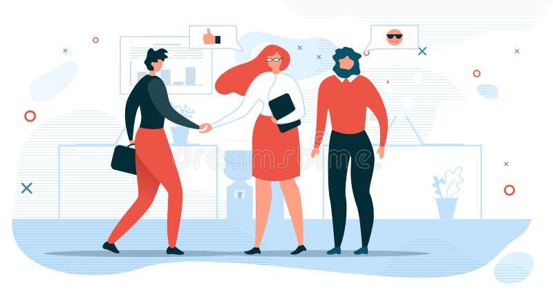 Ludzie Biznesu Spotyka w Biurowym Płaskim wektorze royalty ilustracja