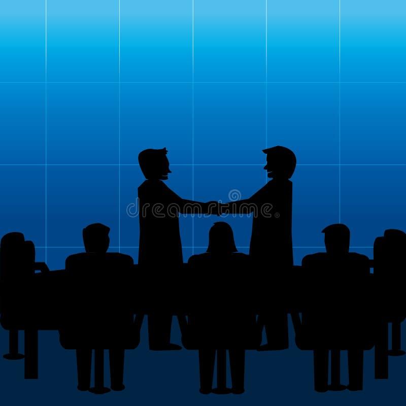 Ludzie biznesu spotykają i uścisk dłoni royalty ilustracja