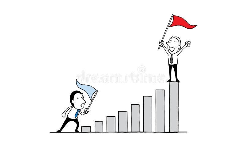 Ludzie biznesu stoi na wykresie z czerwonej flaga zdobywaniem przywódctwo motywaci sukcesu pojęcie odosobniony wektorowy illustra ilustracji