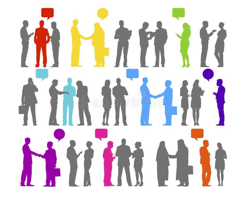 Ludzie Biznesu sylwetka współpracy Podłączeniowego pojęcia ilustracja wektor