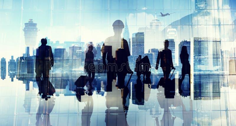 Ludzie Biznesu sylwetki Kabinowej załoga Lotniskowego profesjonalisty Occup royalty ilustracja