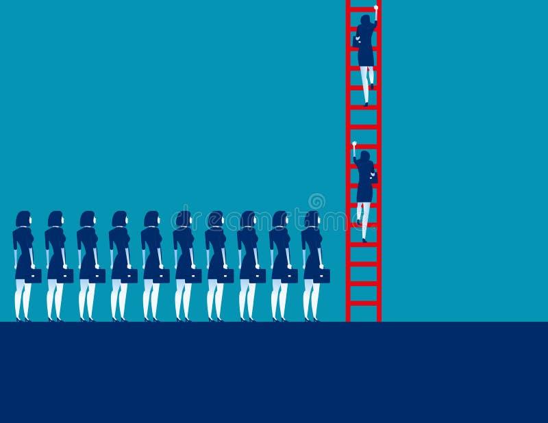 Ludzie biznesu tłumu i poruszający w górę Pojęcie biznesowa wektorowa ilustracja, Korporacyjny biznes, drużyna ilustracja wektor