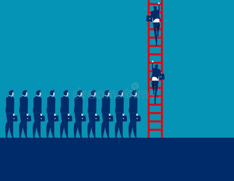 Ludzie biznesu tłumu i poruszający w górę Pojęcie biznesowa wektorowa ilustracja, Korporacyjny biznes, drużyna ilustracji