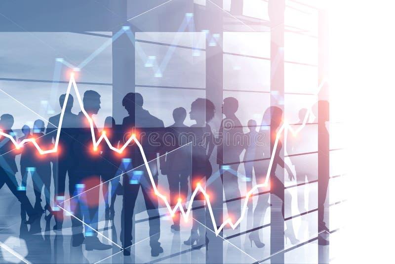 Ludzie biznesu tłumu w drapacz chmur, wykres ilustracja wektor