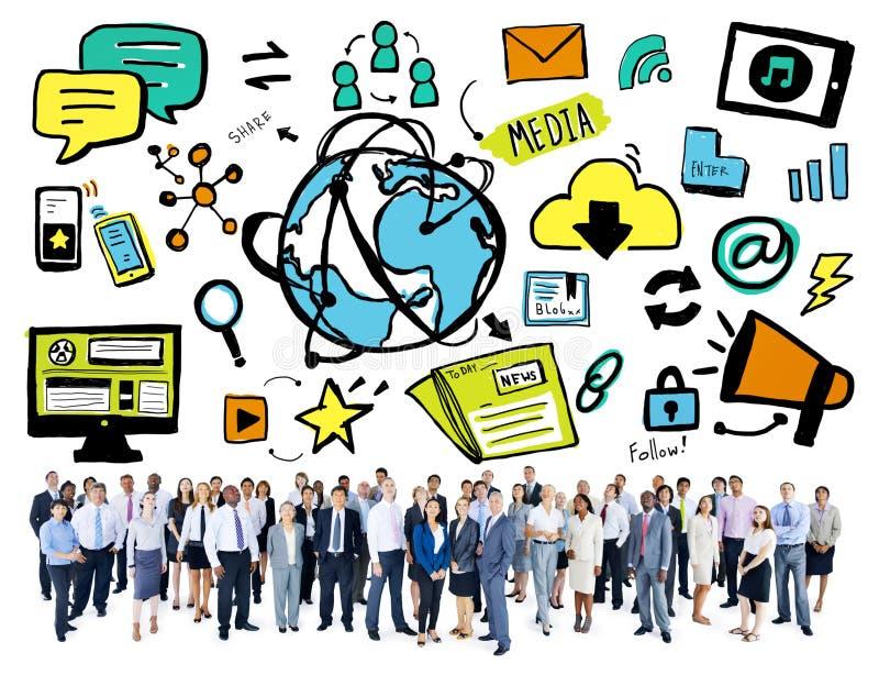 Ludzie Biznesu technologii społeczności Światowego Medialnego pojęcia royalty ilustracja