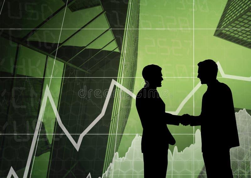 Ludzie biznesu trząść ręki sylwetkę przeciw biznesowemu interfejsowi ilustracja wektor