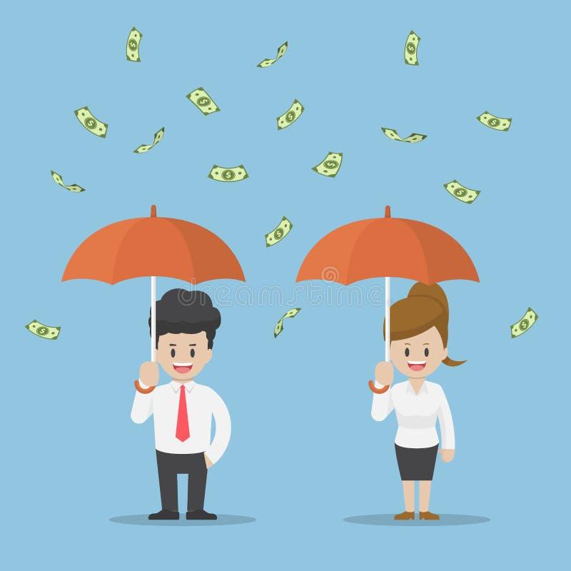 Ludzie Biznesu Trzyma parasol i pozycję Pod deszczem royalty ilustracja
