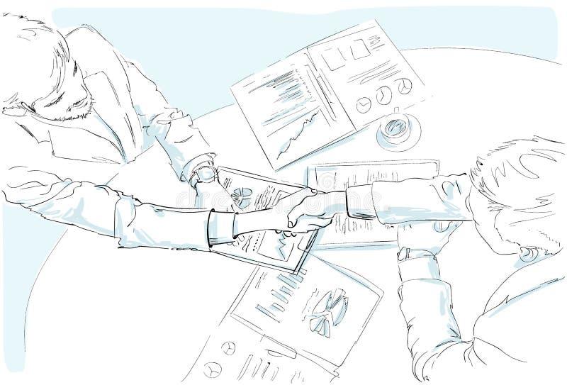 Ludzie biznesu uścisku dłoni nakreślenia biurka z ilustracji