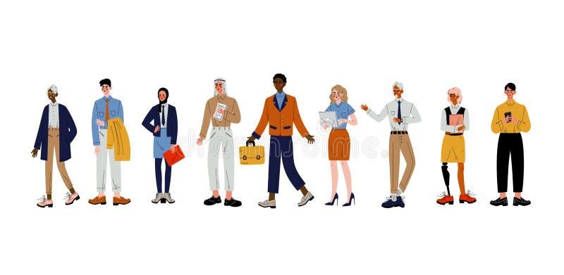 Ludzie Biznesu Ustawiający, grupa, Biurowych pracowników, przedsiębiorców lub kierowników charaktery, wektoru ilustracja royalty ilustracja