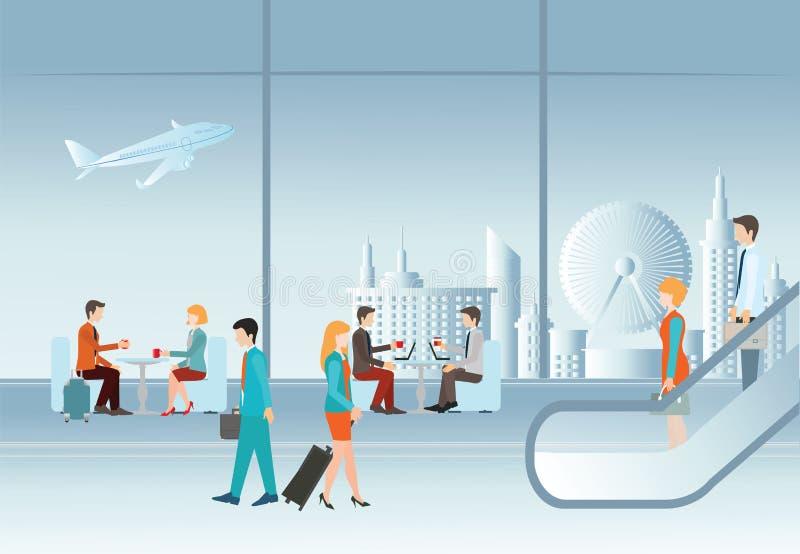 Ludzie biznesu w lotniskowym terminal ilustracja wektor