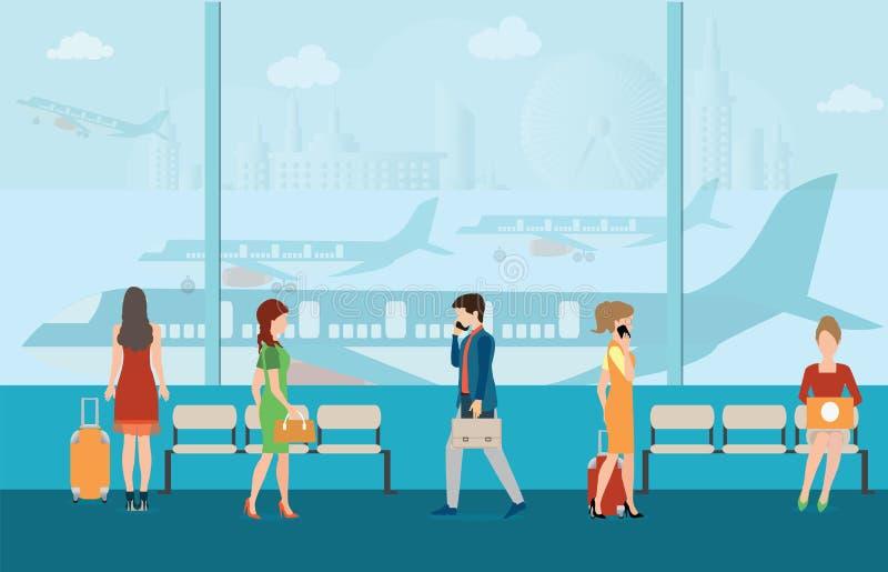 Ludzie biznesu w lotniskowym terminal ilustracji