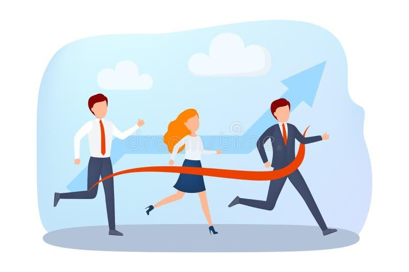 Ludzie biznesu w rasie biegającej sukces ilustracja wektor