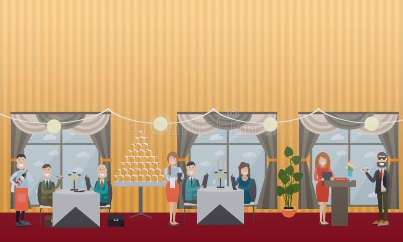 Ludzie biznesu w restauracyjnej płaskiej wektorowej ilustraci ilustracja wektor