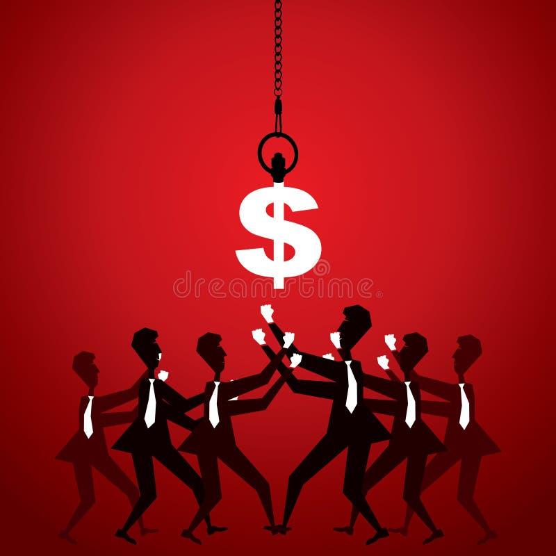 Ludzie biznesu walczą dla pieniądze (dolar) ilustracji